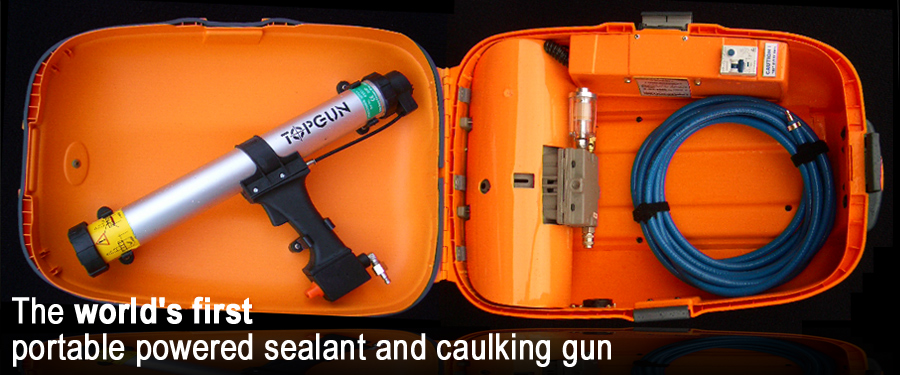 TOPGUN® The world's first portable powered sealant and caulking gun.